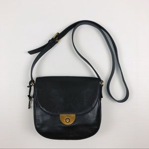 Fossil Cowhide Black Leather Saddle Purse